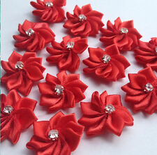 Red Flower Embellishments with Gems, wedding decoration, crafts, sewing