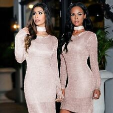 Women Sexy Long Sleeve Pink Slim Bodycon Party Cocktail Mini Dress Clubwear