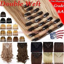 Remy Hair 8 Pieces Fashion Lady Clip in Hair Extensions Long Curly Real As Human