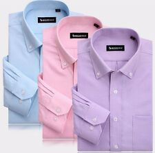 Mens Non-iron Point Collar Long Sleeve Casual Business Dress Special Shirt 38-44