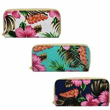Ladies Floral Print Canvas Zip Around Purse, Card/Coin Pockets Ella 72890 ~ K