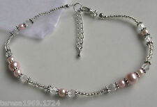 Stretch baby pink glass pearl silver beaded anklet ankle bracelet bridal prom