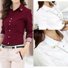 Womens OL Office Shirt Long Sleeve Blouse Lapel Button Down Tops Lady Tee J0X0