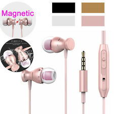 Magnetic Metal 3.5mm Handsfree Super Bass Earphone W/Mic For iPhone 4 5 6 SE Lot