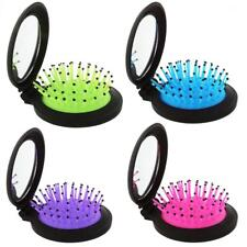 Folding 2 in 1 Hair Comb Scalp Massage Brush w/ Mirror Healthcare Compact Brush