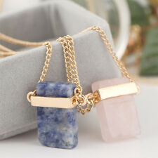 Women Fashion Cubic Gem Stone Necklace Gold Plated Pendant Crystal Chain Gift .