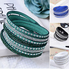 WOW Fashion Leather Wrap Wristband Cuff Punk Crystal Rhinestone Bracelet Bangle