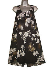 PLUS SIZE GOLD AND WHITE FLORAL PRINT CHIFFON OVERLAY TUNIC DRESS