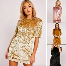 Sexy Women Ladies Crushed Velvet Casual Tops T Shirt Loose Long Top Blouse Dress