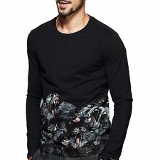 Mens Slim Fitted Long Sleeve Round Neck Animal Print Floral Black T-Shirt M~XXL