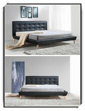 New Double/Queen/King Leather Upholstered Bed Frame & Button Tufted Bed Head