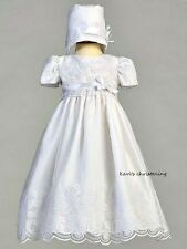 Girls White Christening Dress w/ Floral Embroidered & Hat Organza Size 0-18M New