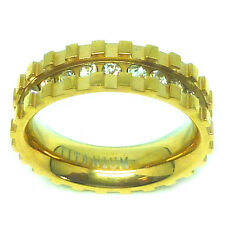 6mm Titanium Gold Plated Eternity CZ Paved with Notches Wedding Band Ring