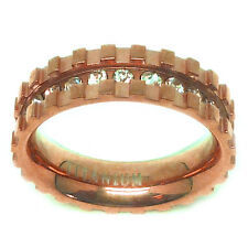 6mm Titanium Rose Gold Plated Eternity CZ Paved with Notches Wedding Band Ring