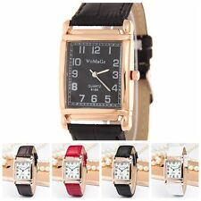 New Men Women Quartz Analog Square Dial Wrist Watch Leather Band