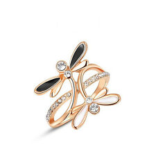 Fashion Jewelry 18K Rose Gold Plated Austrian Crystal Black/White Dragonfly Ring