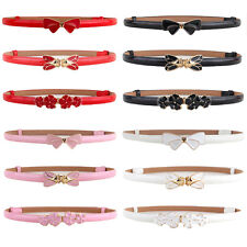 Womens Skinny Bow Flower Buckle Faux Leather Belt Adjustable Waist Band
