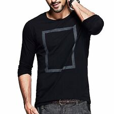 Slim Young Mens Simple Tee Shirt Print Round Neck Long Sleeve T-shirt 2 Colors