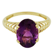 Amethyst 4.95 Carat Natural Gemstone Ring In 10 Kt Solid Yellow Gold