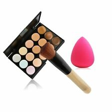 15Colors Face Cream Camouflage Concealer Palette Makeup Sponge Puff Powder Kit