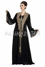 DUBAI TAKSHITA GEORGETTE ISLAMIC  HAND EMBROIDERY JILBAB ARABIAN DRESS 5824
