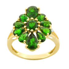 Chrome Diopside 3.50 Carat  Natural Gemstone Diamond Ring In 9kt Yellow Gold