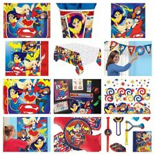 SUPERHERO GIRLS BIRTHDAY PARTY Table Cover Loot Bags Plates Napkins Balloons