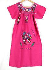 Mexican Womens Dress Hand Embroidered Pink Boho Size S M or L Made In Mexico