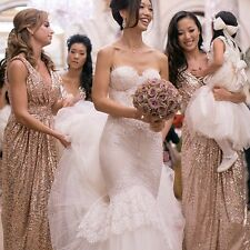 Sequin Long Bridesmaid Dress Rose Gold Plus Size Evening Formal Party Gown HD172