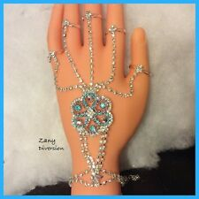 Wholesale Lot of 10 Fashion Slave Bracelet 5 Ring CZ Hand Chain Blue Pink Silver