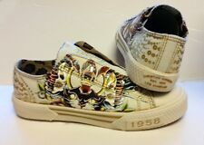 Women's Christian Audigier ED Hardy Off White Gold Panther Slip On Shoes