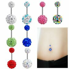 Rhinestone Barbell Crystal Ball Piercing Body Jewelry Navel Ring Belly Button