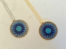 925 Sterling Silver / Gold Cubic Zirconia Evil Eye Turquoise Mati Nazar Necklace