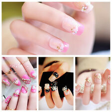 24pcs Fashion 3D Bride Wedding False Artificial Fake Nails Tips French frce