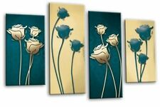 Floral Teal Blue Cream Abstract Canvas Wall Art Picture Split Multi 4 panel set
