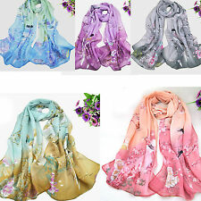 WOW Fashion Women's Printed Flower Soft Silk Chiffon Neck Scarf Wrap Shawl Stole