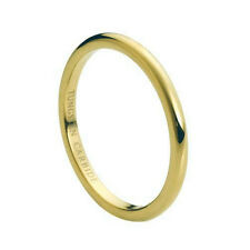 2mm Ladies Gold Tungsten Carbide Shiny Polished Plain Domed Wedding Band Ring