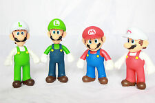 Super Mario Fire Mario Luigi Fire Luigi & Green Yoshi Figure Collection 5 Inch