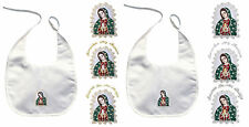 Baby Christening Baptism Ceremony White Bibs Wipe Gold Silver Guadalupe Maria