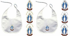 Baby Christening Baptism White Bib Wipe Gold Silver Keepsake Holy Virgin Mary