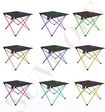 US Aluminum Alloy Folding Desk Hiking Outdoor Portable Table + Backpack Durable