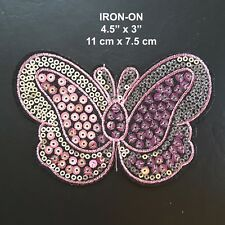 Pink Butterfly Sequin Embroidery Iron-on Fuchsia Dress Patch Shirt Applique