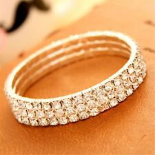 Bright Bridal Fashion Rhinestone Costume Bracelet Anklet Crystal Stretch