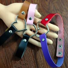 Fashion Goth Punk Ring Funky Leather Collar Choker Necklace Heart