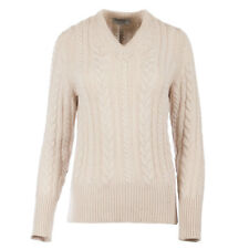Hawick Knitwear Women's Cashmere Cable Knitted V-Neck Pullover Jumper