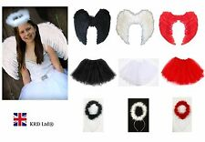 Kids Angel Devil Fairy Feather Wings Halo Fancy Dress Costume Outfit Stage Party