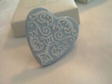 Vintage Wedgwood Blue and White Heart Pin Brooch in Original Box