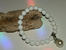 8mm WHITE JADE GEMSTONE BEADED STRETCH CHARM BRACELETS IN MIXED SIZES & CHARMS