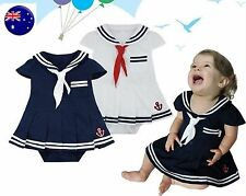 Kids Girl Girl Baby Navy Sailor marine Stripe Costume Party Romper Dress 6-24mth