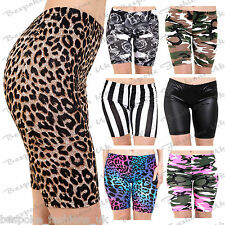 Women's Army Leopard Monochrome Print Ladies Cycling Jersey Shorts Hot Pants